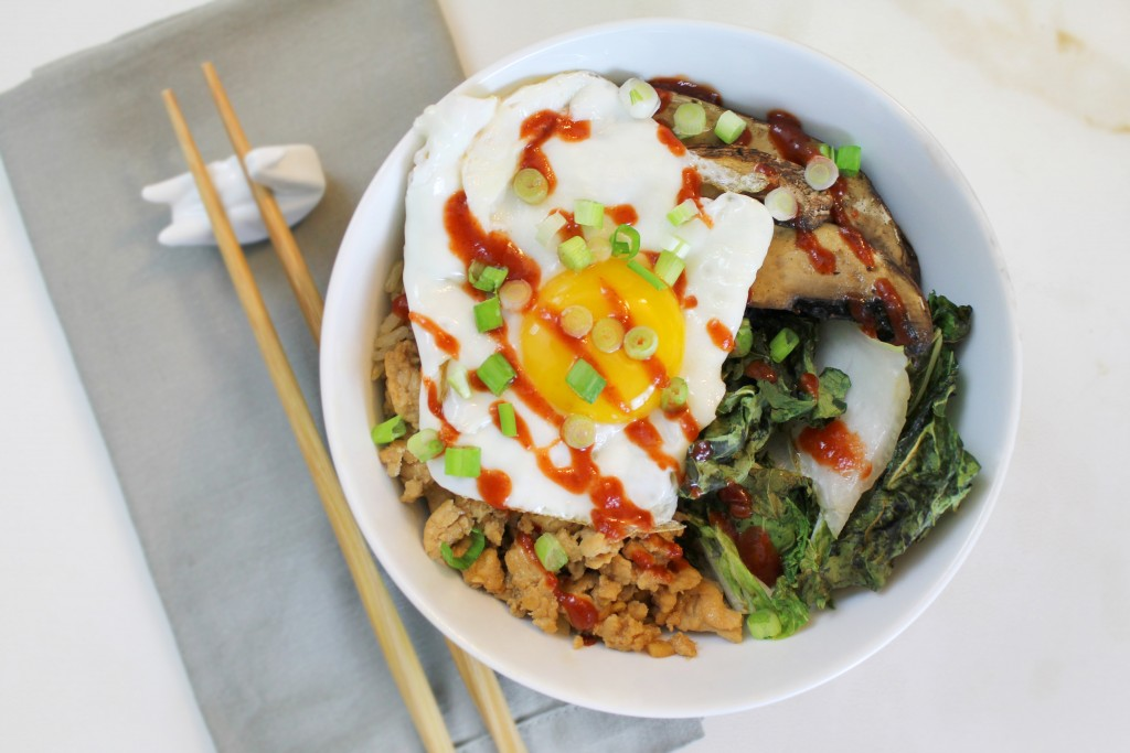 Chicken, Bok Choy & Mushroom Rice Bowl | A Sip of Bliss